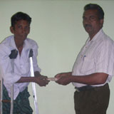 Beneficiary is receiving financial assistance to start petty shop of daily usage plastic  things sale